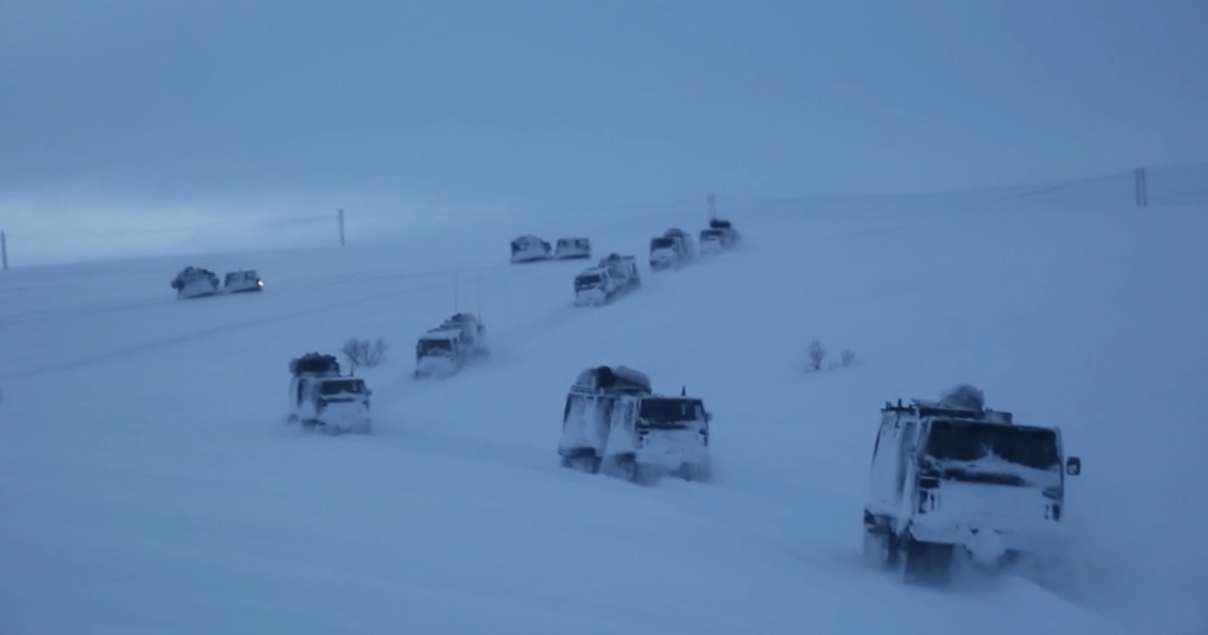 Marine Corps vehicles convoy Norway Arctic Circle