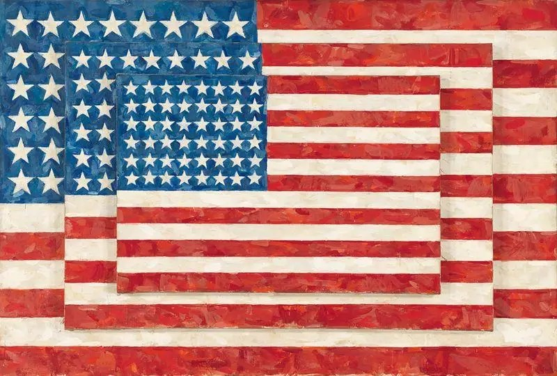 Jasper Johns 'Three Flags au Whitney Museum of American Art à New York City.