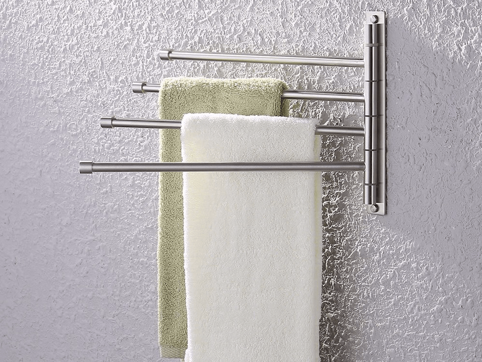 A folding swivel hanger for bathroom towels.