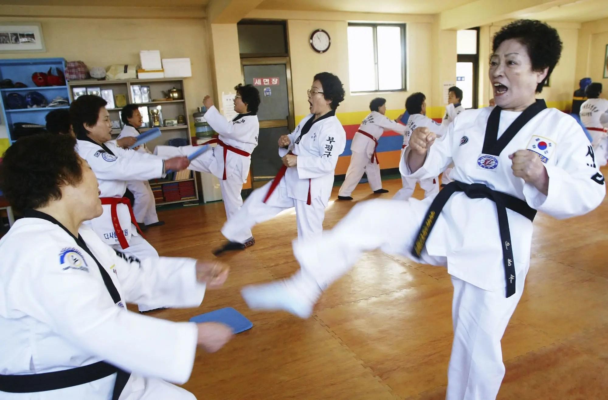 Elderly South Korean women TaeKwonDo exercise fitness