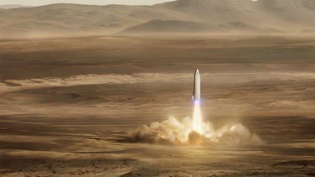 big falcon rocket bfr spaceship bfs landing mars spacex