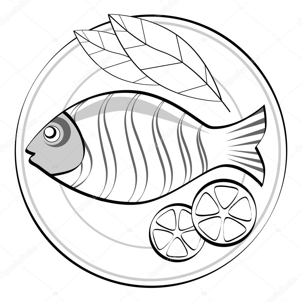 Fish on a plate. — Stock Vector © troyka #4931258