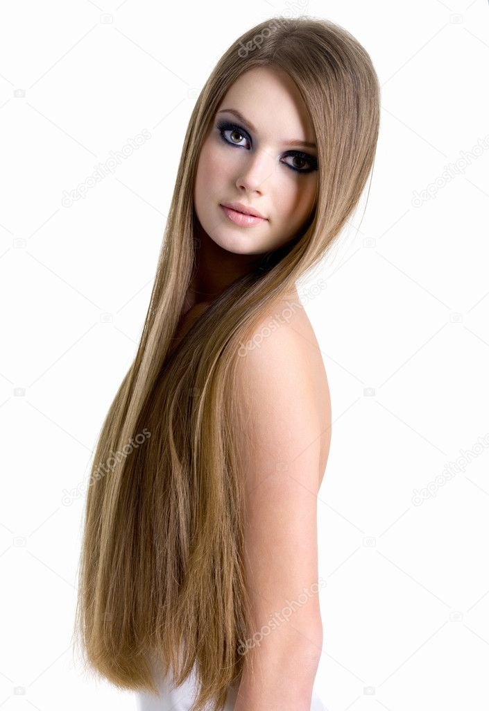 Portrait of beautiful woman with long hair  Stock Photo  valuavitaly 5226009