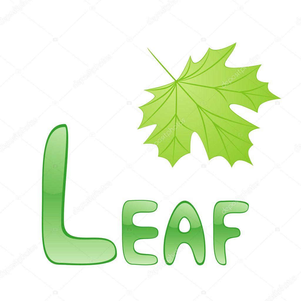 Funny Alphabet For Children Leaf