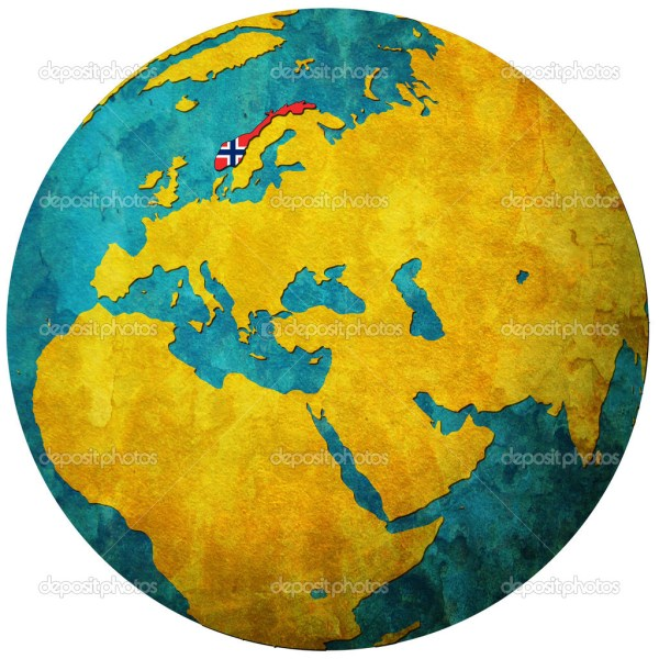 Norway flag on globe map Stock Photo 169 michal812 5326991