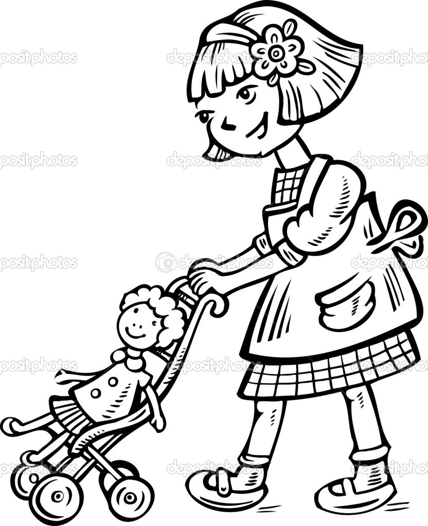 Girl with a doll in a wheelchair.Children. — Stock Vector