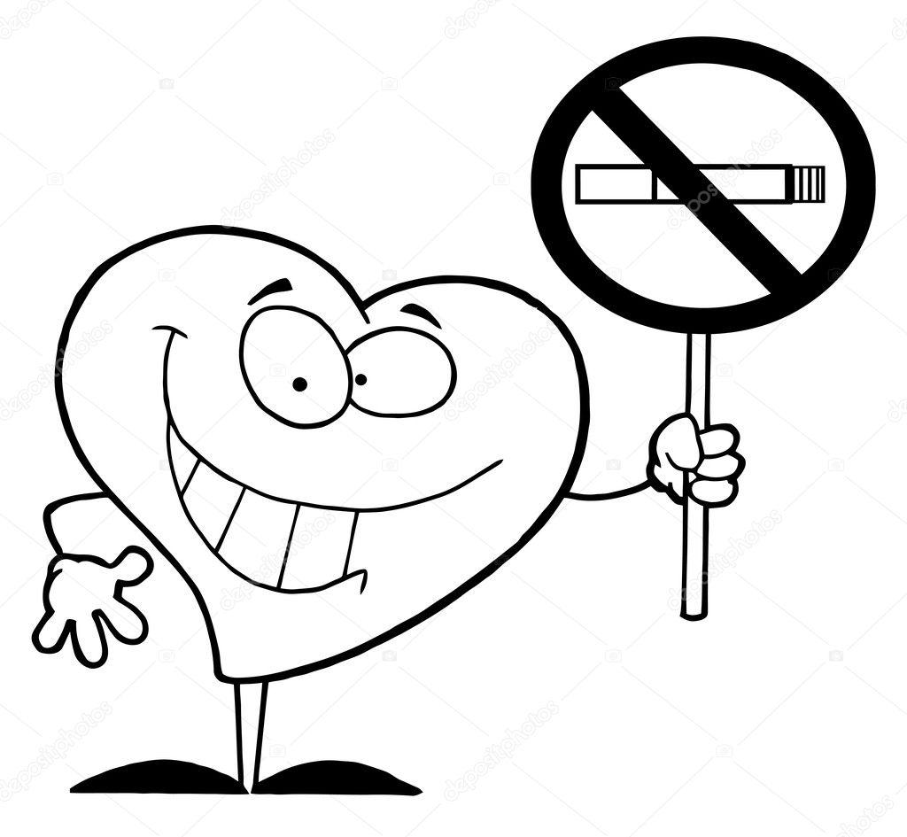 Corazon Delineado Con Un Cartel De No Fumar