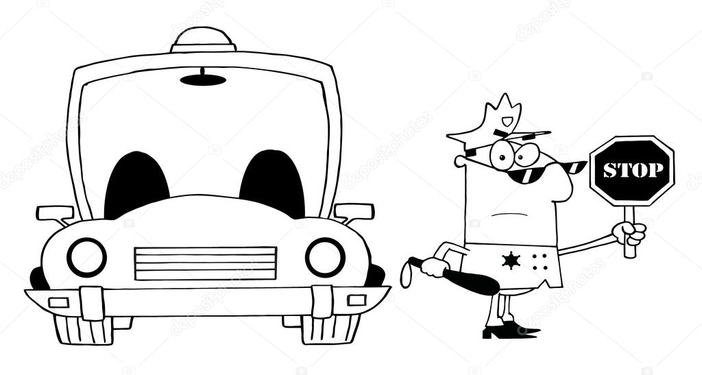 Outlined Traffic Police Officer With Car — Stock Photo