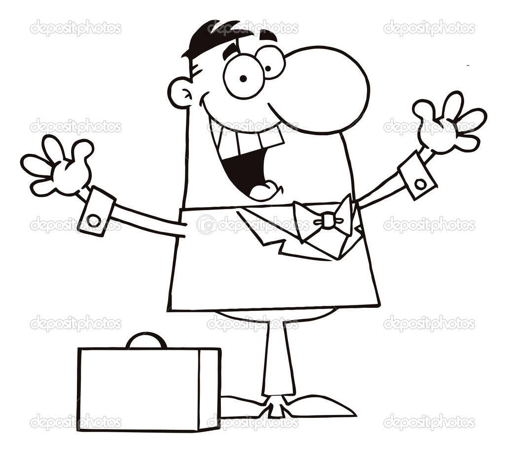 Outline Of A Happy Businessman Holding His Arms Up By A