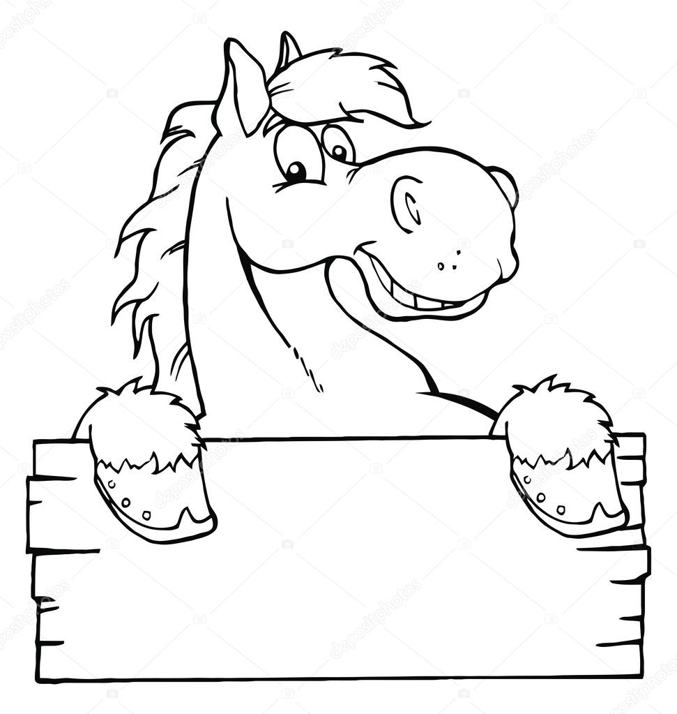 Outlined Cartoon Horse With A Blank Sign — Stock Photo
