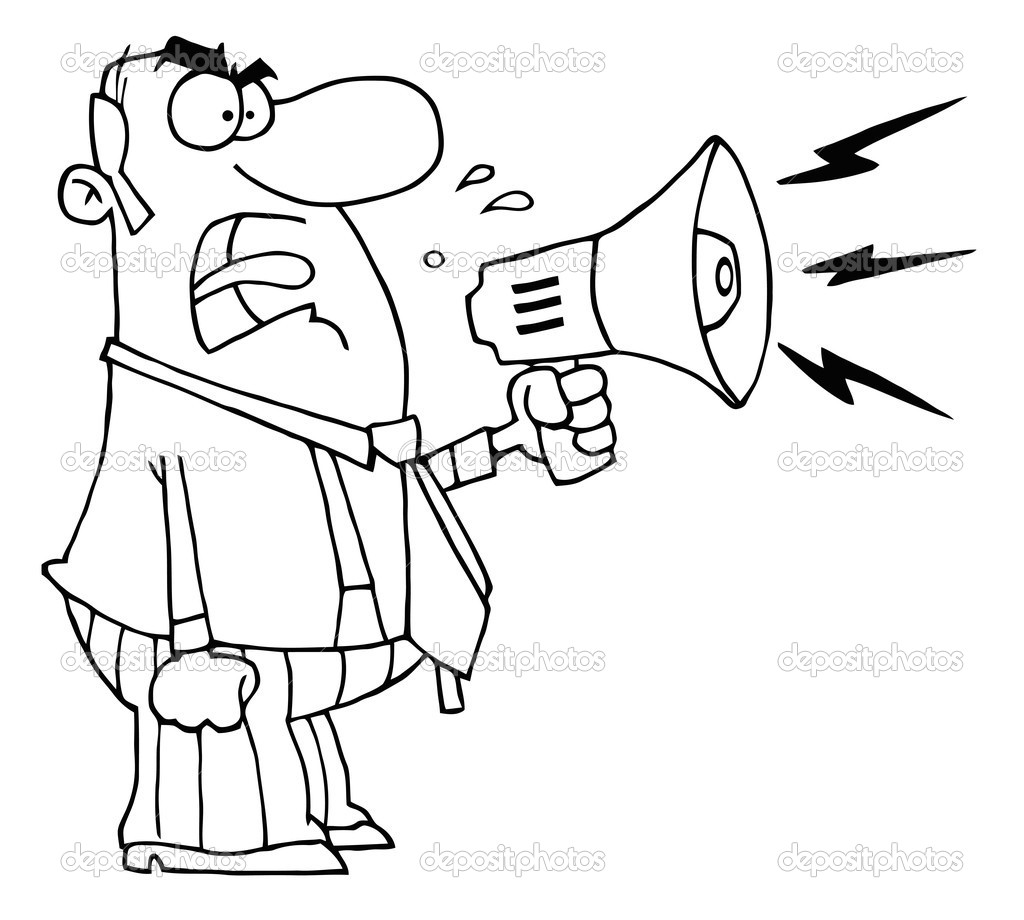 Outlined Angry Boss Man Screaming Into Megaphone — Stock