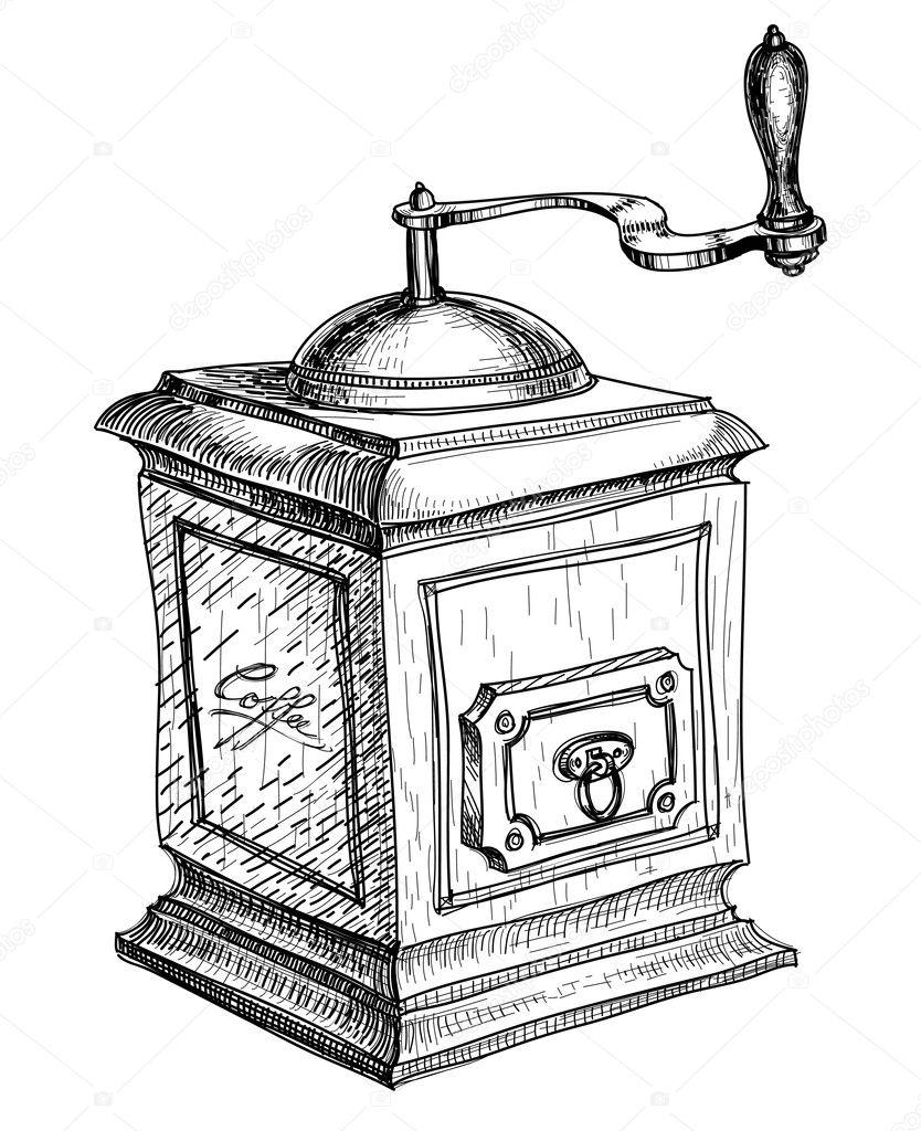 Coffee mill sketch — Stock Vector © Danussa #4580115