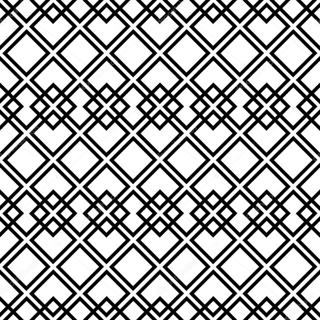 Seamless black-and-white pattern with square — Stock
