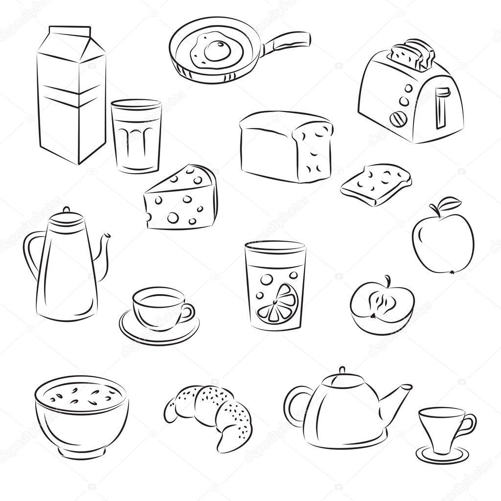 Vector Sketch Clipart Set Breakfast Food