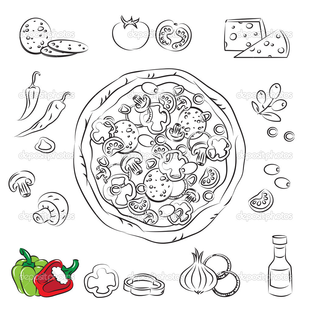 Vector Sketch Collection Of Pizza And Ingre Nt