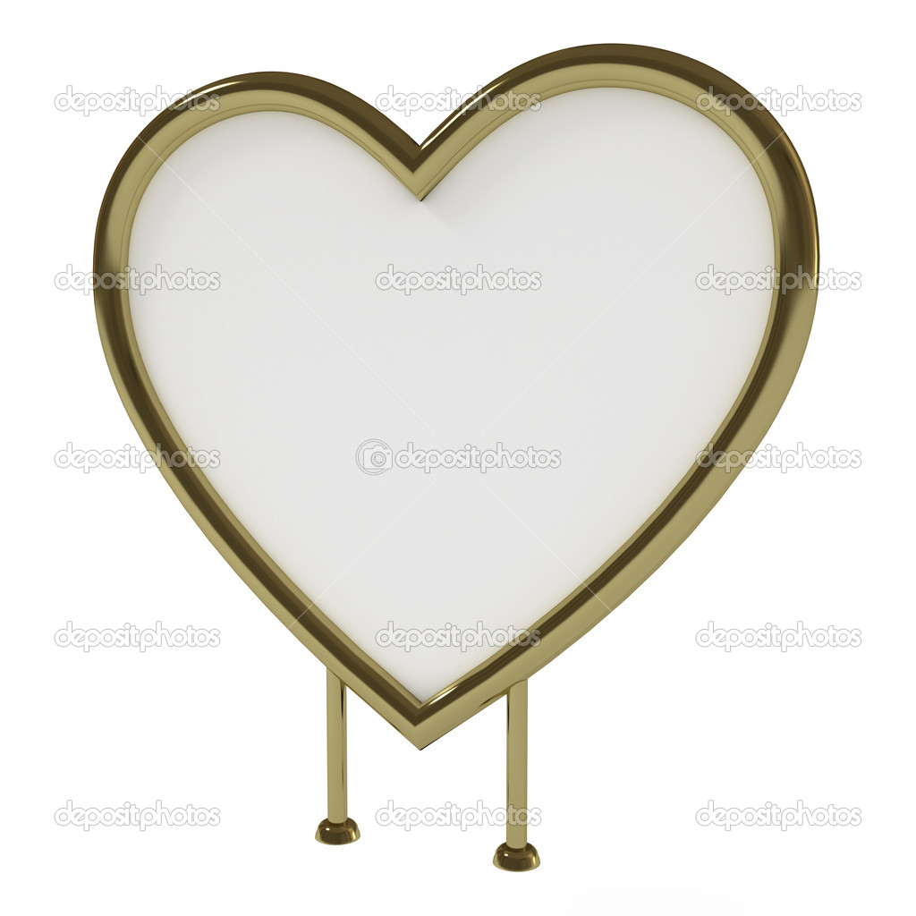 Heart Shaped Golden Sign Board Blank Isolated On White