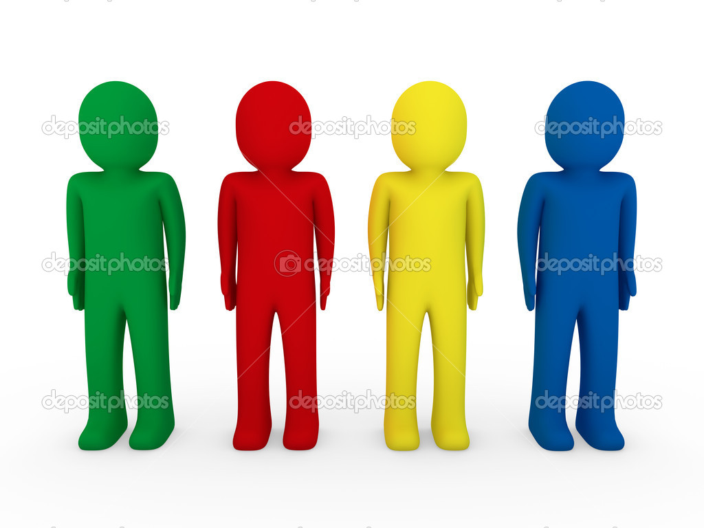 Equipe Humana 3d Azul Vermelho Amarelo Verde