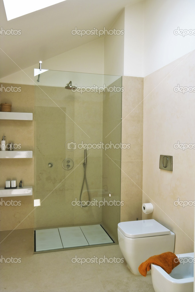 Shower Cubicle With Glass Partition In Modern Bathroom Stock Photo C Aaphotograph 4667943