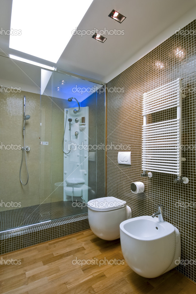 Shower Cubicle With Glass Partition In Modern Bathroom Stock Photo C Aaphotograph 4667950