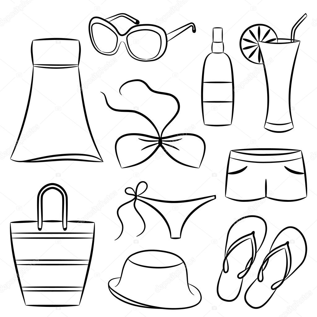 A Set Of Beach Accessories Vector Illustration