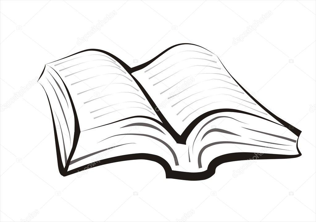 livro, manual de desenho em linhas pretas simples — Vetor