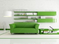 Green and white living room  Stock Photo  archideaphoto ...