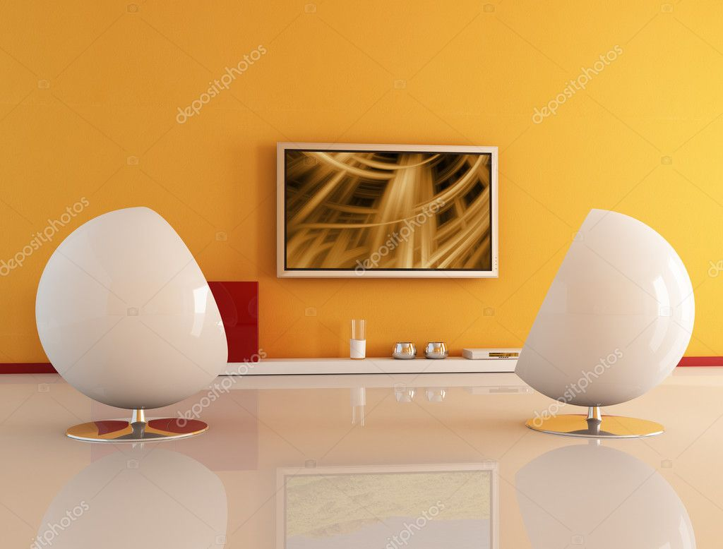 Living room with lcd tv  Stock Photo  archideaphoto #5029202