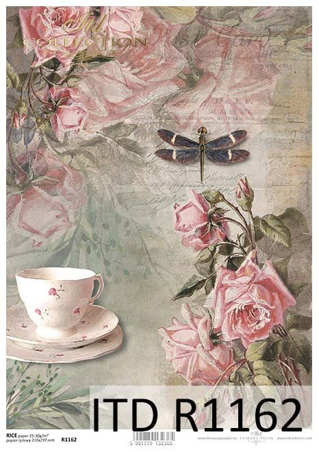 Rice paper R1162  Paper for decoupage rice  Vintage cup roses dragonfly
