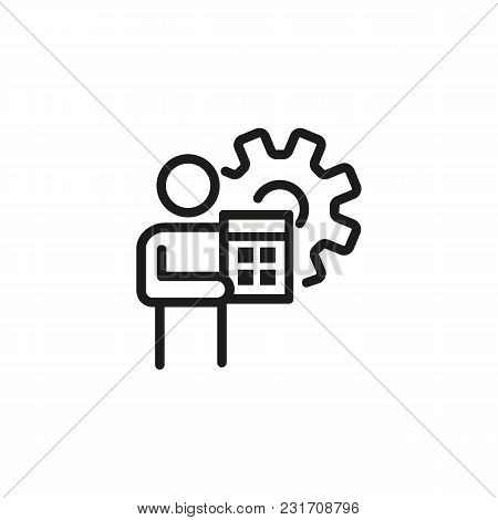 Man With Calculator Line Icon. Gear, Budget Automation