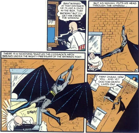 "1939: Detective Comic #30 ""Golden Age Batman"" – The Caped Crusader exhibits sharper, pointier ears, and more durable wings."