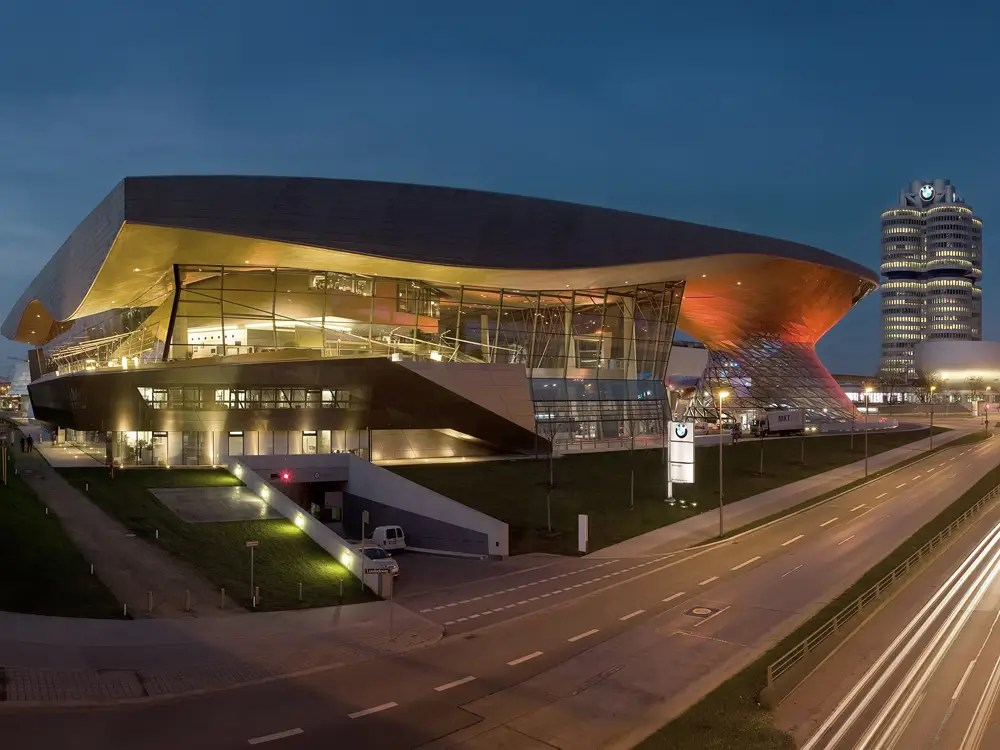 BMW World in Munich, Germany has a distinctive double cone. It is used both as an exhibition hall and also for getting cars to new customers.