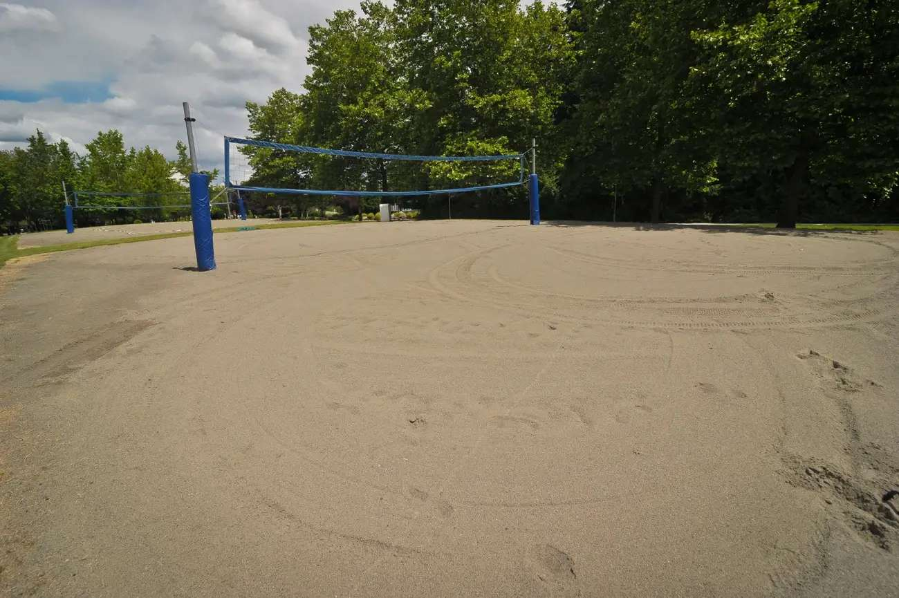 There was also a volleyball court. Beach volleyball is not as popular as soccer.