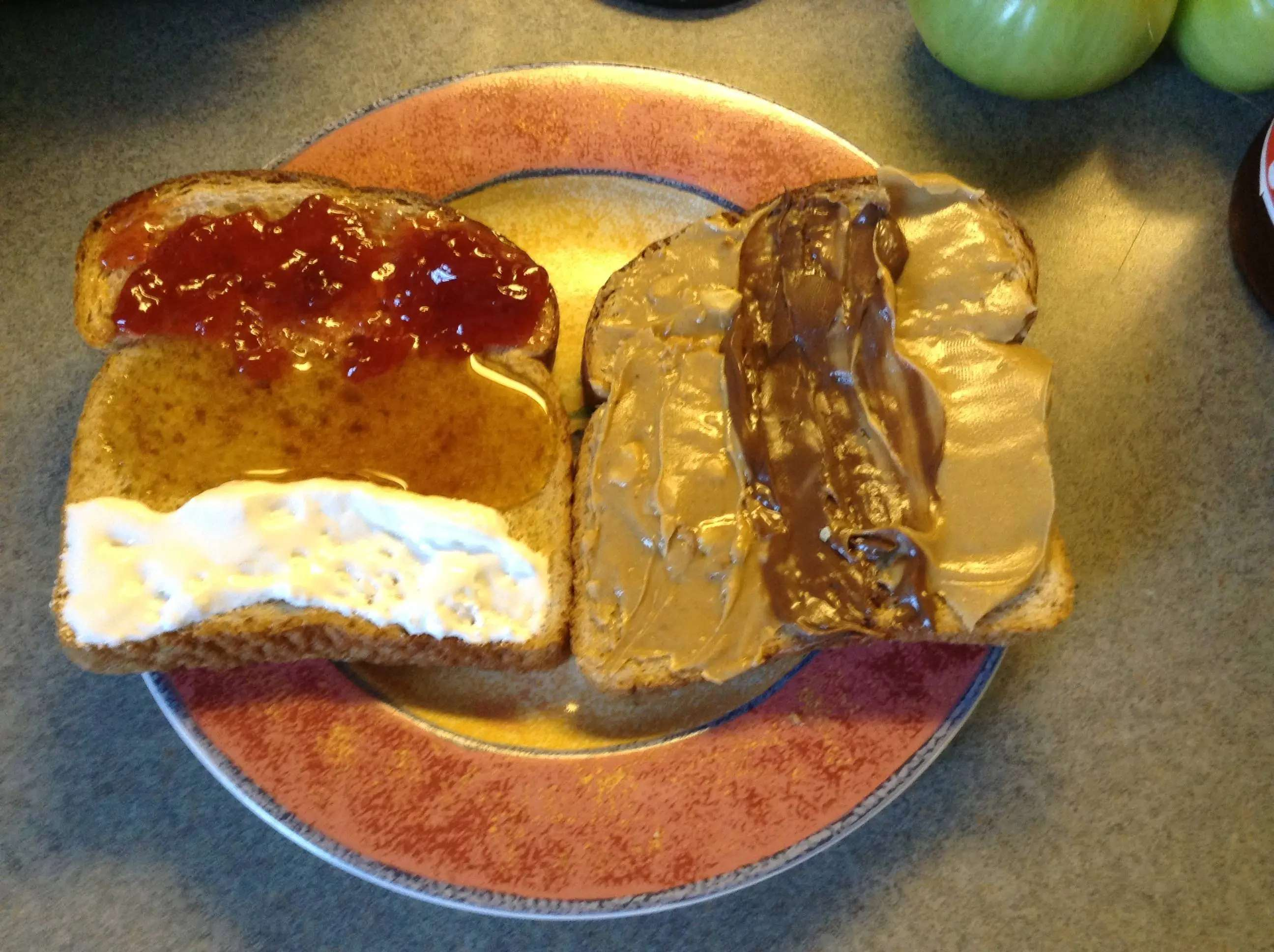 Get bored easily? Try making the PB&J 2.0 sandwich with strawberry jam, honey, marshmallow fluff, two kinds of peanut butter, and Nutella. It's a different flavor with every bite!