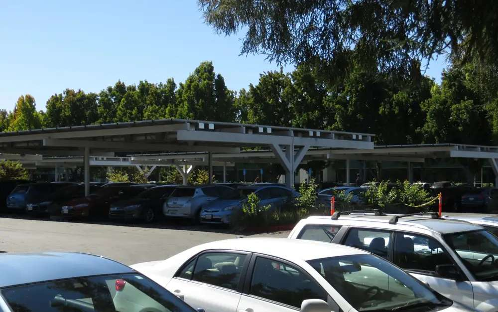 Lots of Valley companies have EV charging stations, but Google's massive EV parking lot is solar powered. Solar panels cover the carports.