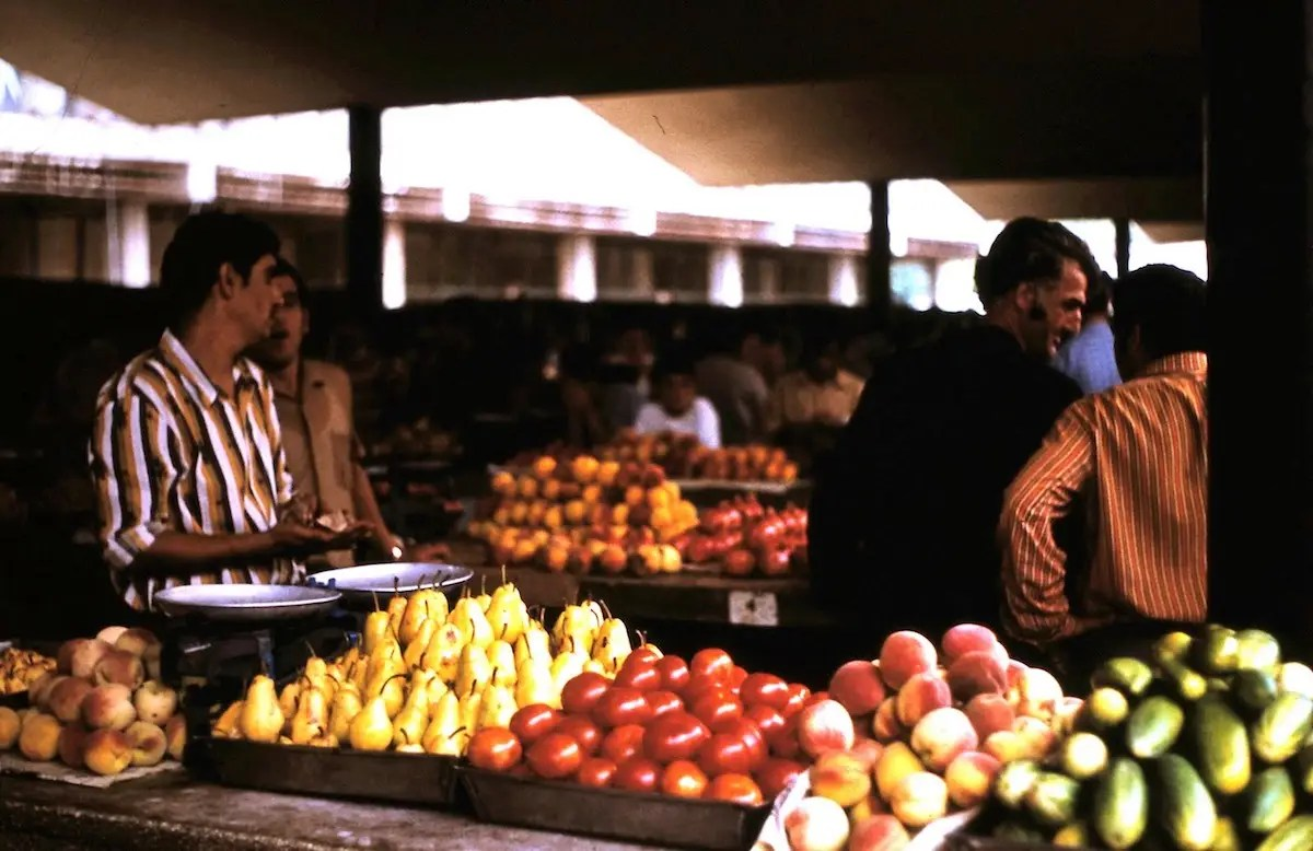 There were also fresh fruit and vegetables for sale.