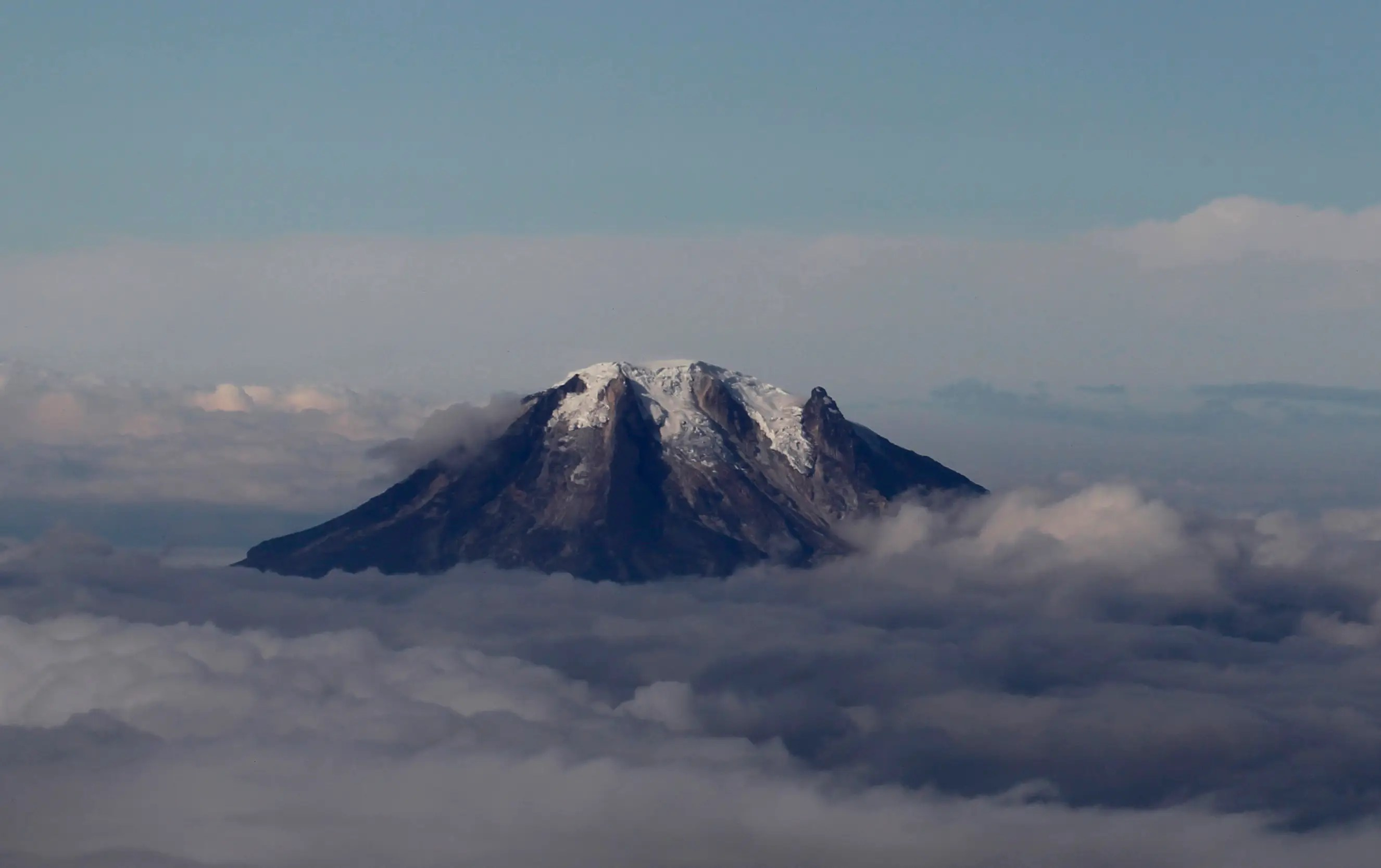 An aerial view of Nevado del Tolima volcano in Colombia.