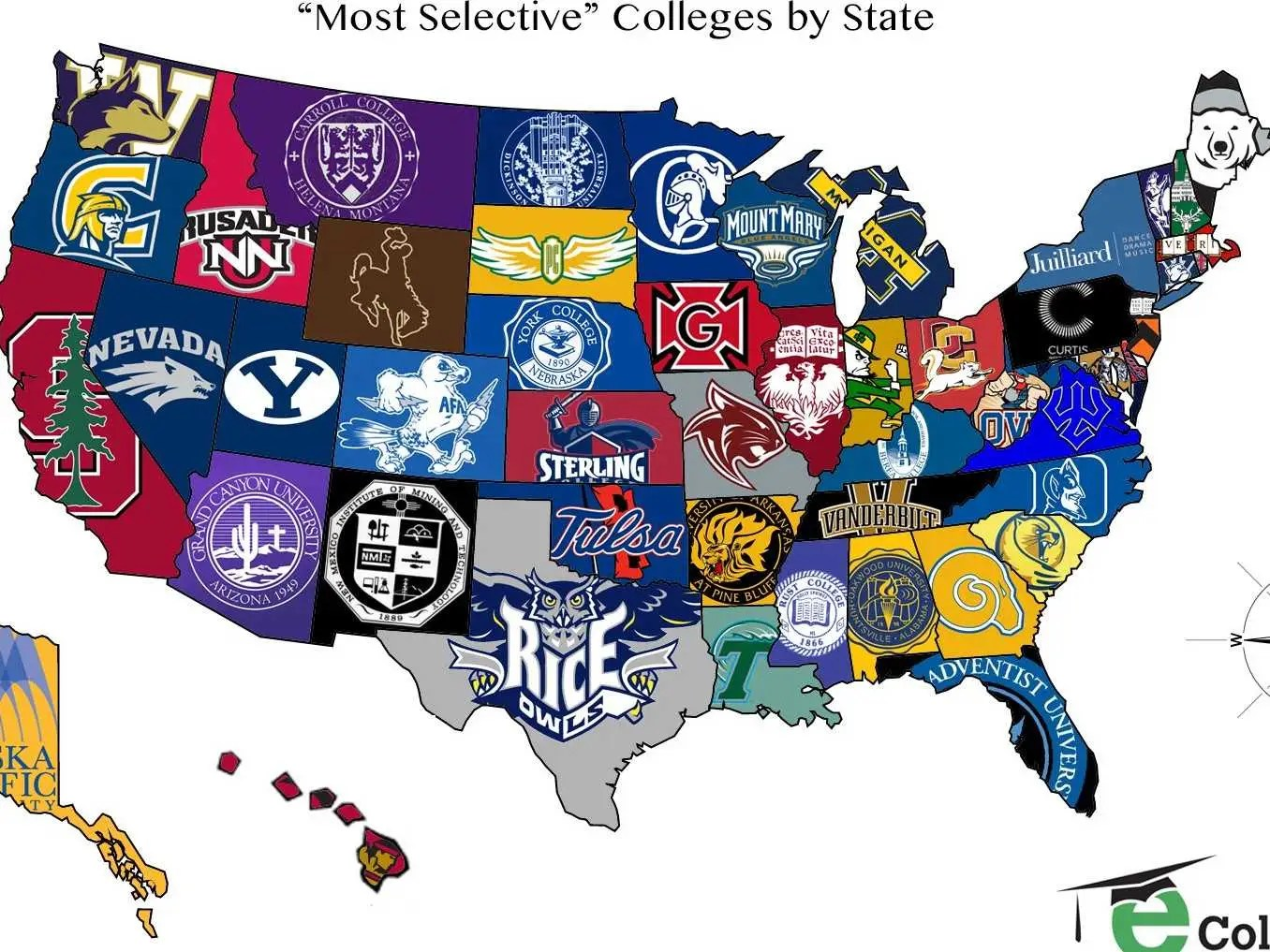 The Most Selective College In Each State [map]  Business