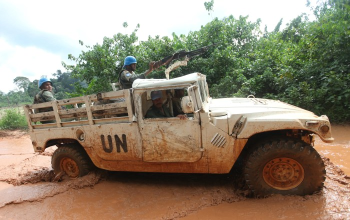 14. COTE D'IVOIRE: Since 1999, this West African nation has experienced two civil wars and multiple political impasses. There are thousands of U.N. peacekeepers and French soldiers stationed in the country, and the nation receives near-bottom scores for external intervention, factionalized elites, and group grievances.