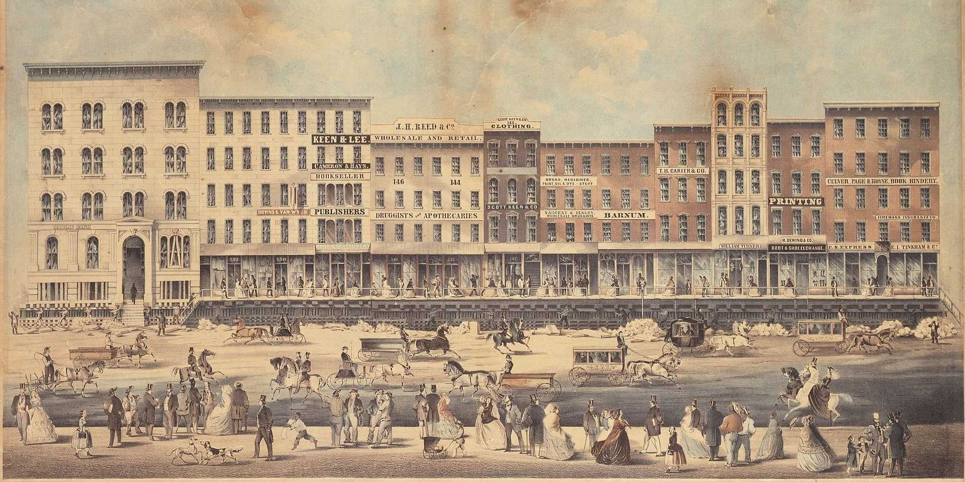 raising lake street in chicago 1850