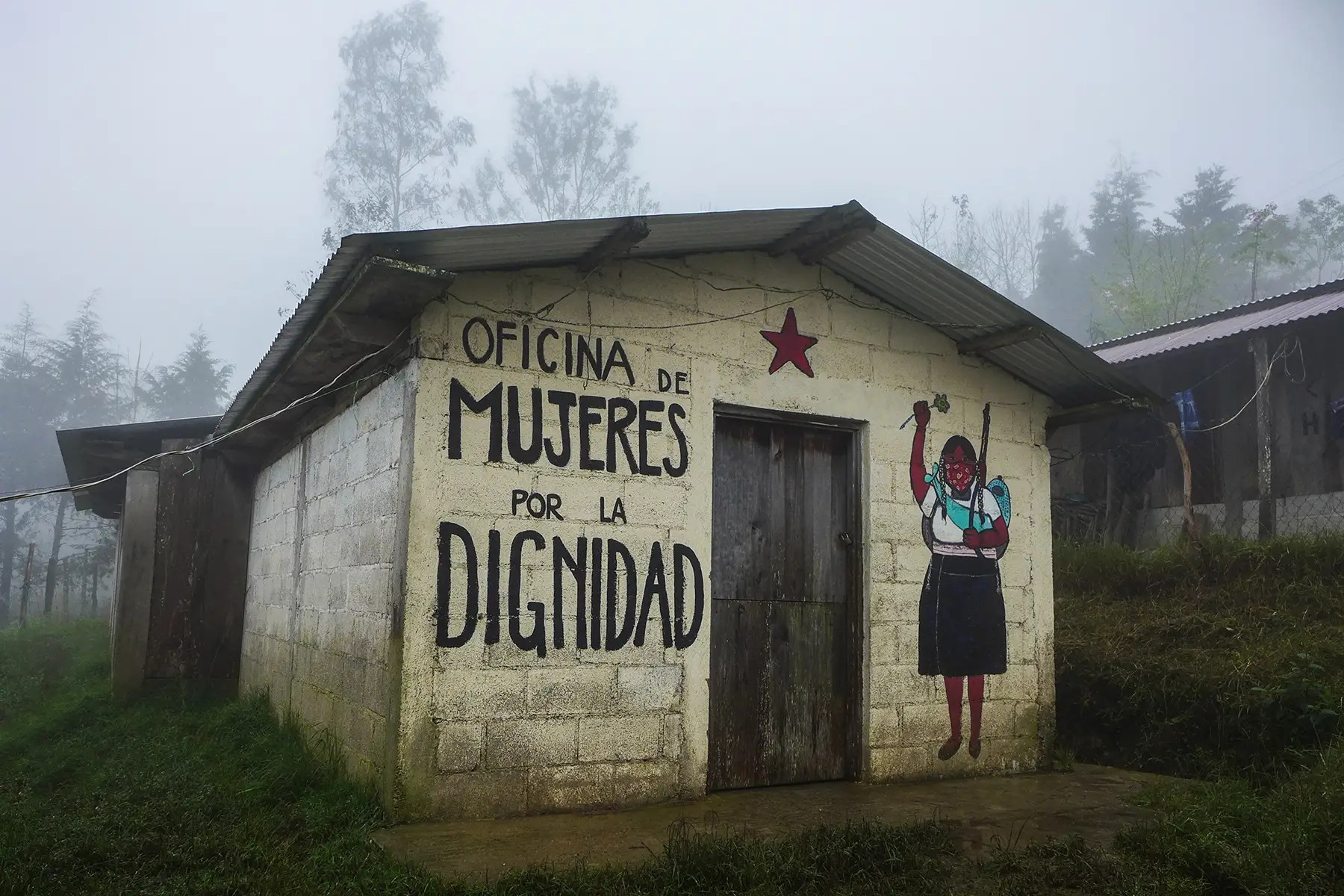 "The ""Office for Women and Dignity"" is pictured here. The Zapatista women have a strong say in the running of community affairs, as both men and women are equal according Zapatista doctrine. Women hold many positions of leadership in the organization, including as military commanders."