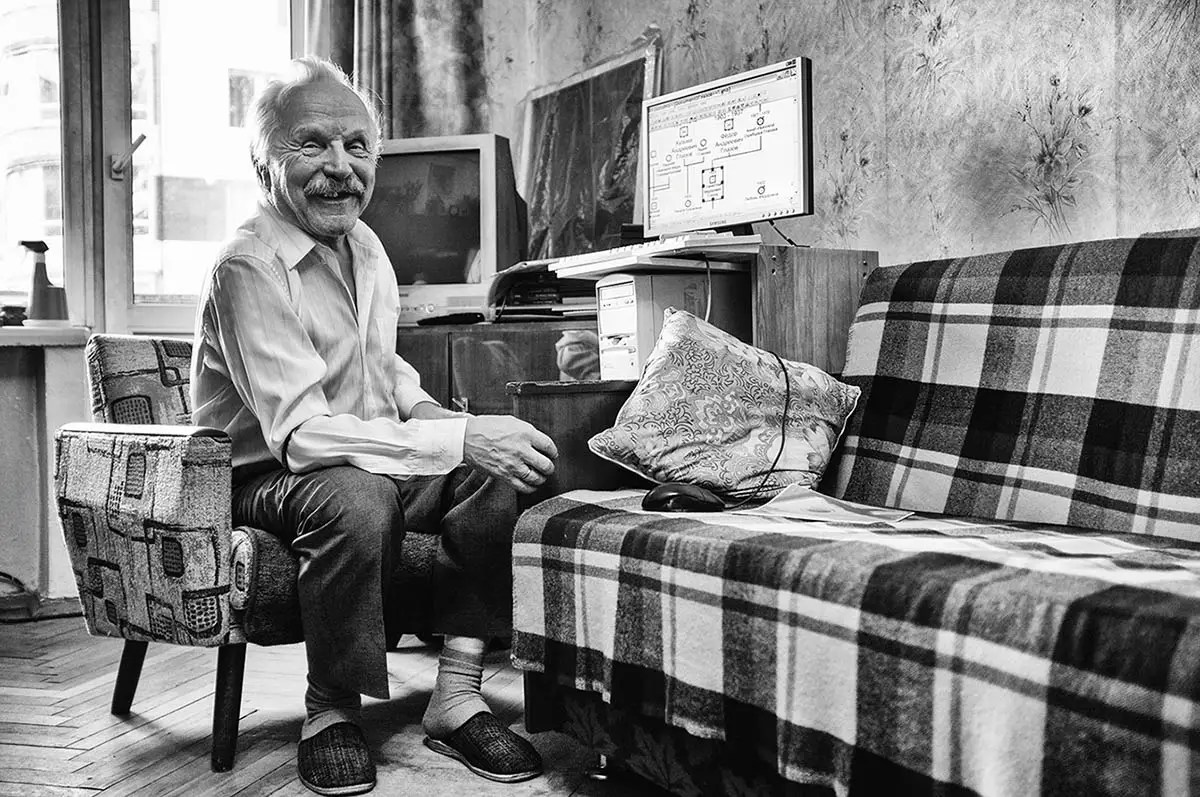 "Stanislav, age 77. Profession: Ship builder. Passion or Dream: ""I would like to create my family's family tree by using a computer program."""