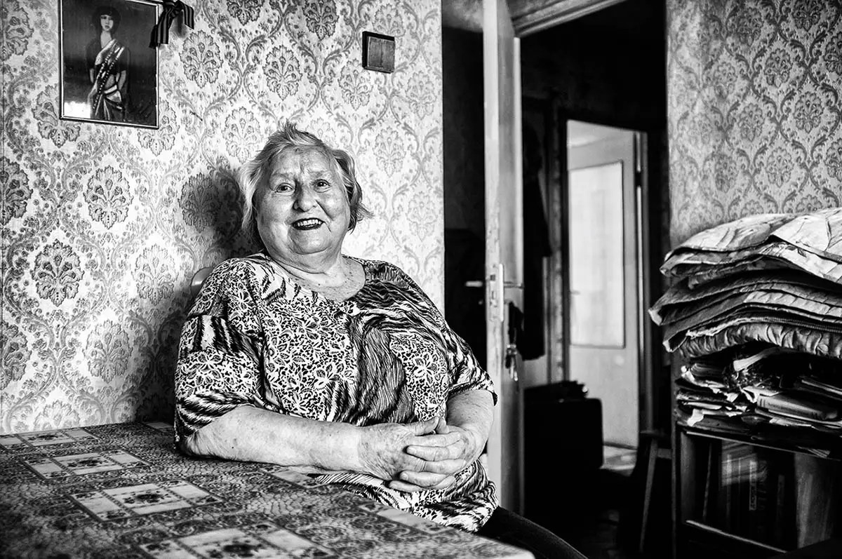"""Margarita, age 86. Profession: Production engineer. Passion or Dream: """"I dream of making a masterpiece from patchwork, to live long, and to continue learning German language."""""""