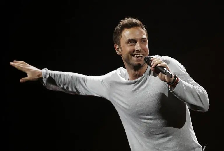 Sweden's Mans Zelmerlow performs during the dress rehearsal for the second semi-final of the Eurovision Song Contest on May 20, 2015 in Vienna