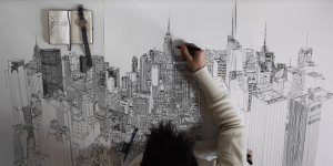 drawing york skyline easy sketch drawings sketches artist lapse paintingvalley business
