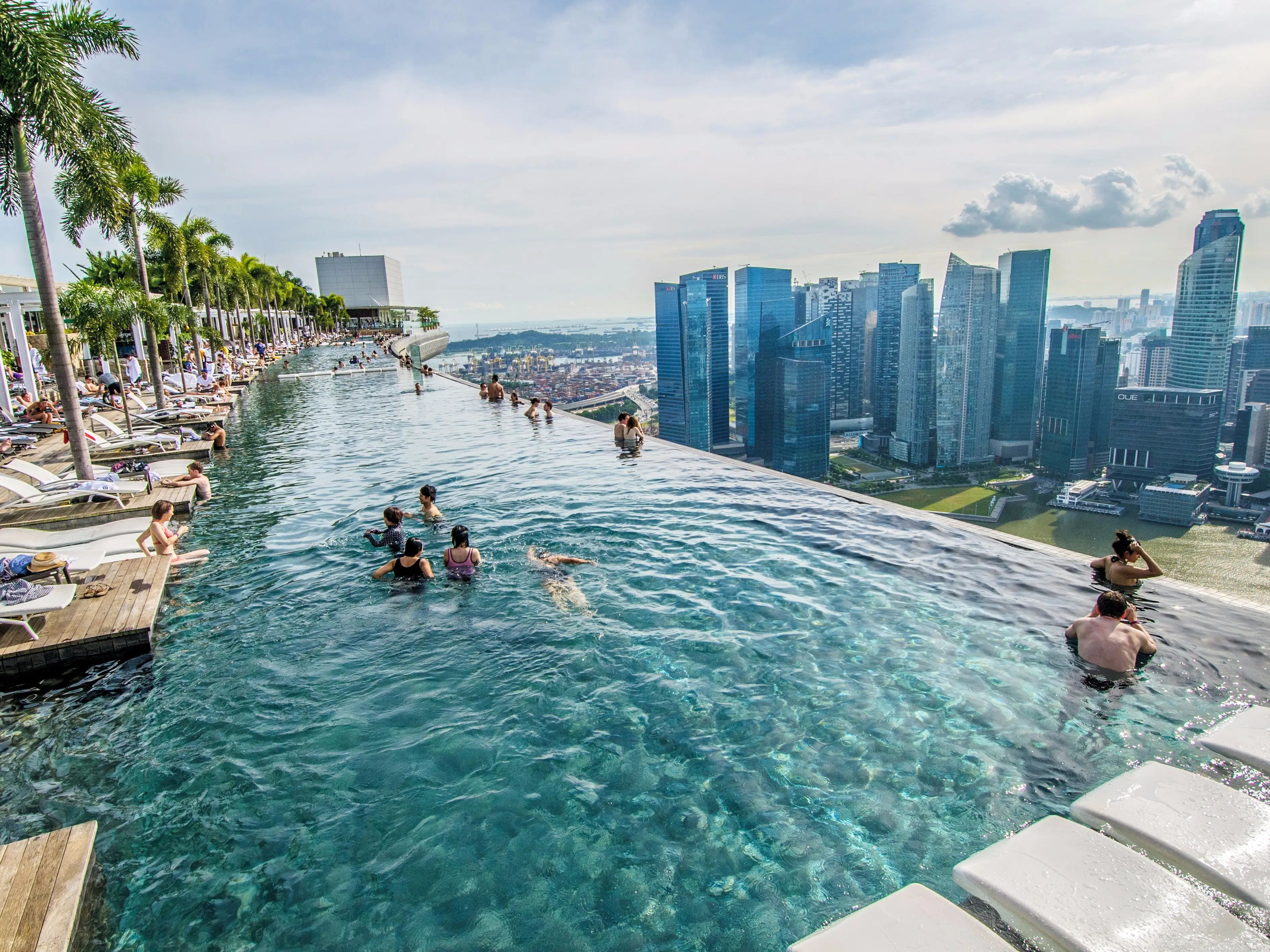 If you're not a fan of ferris wheels, then you might want to skip the Singapore Flyer. Instead, go for some relaxation and a stunning city skyline view at the infinity pool at the Marina Bay Sands Hotel. It's the world's largest infinity pool, and you'll be floating at an impressive 57 floors up.