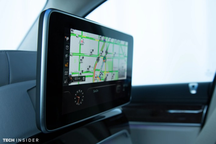 Each passenger also has a touchscreen for watching a show or for looking up directions.