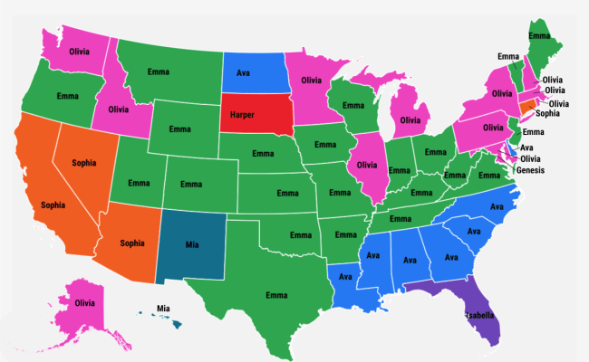 Most Popular Baby Names State Maps Business Insider