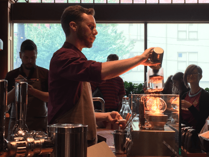 Beyond new recipes, the Roastery showcases different coffee preparation methods, like siphoning.
