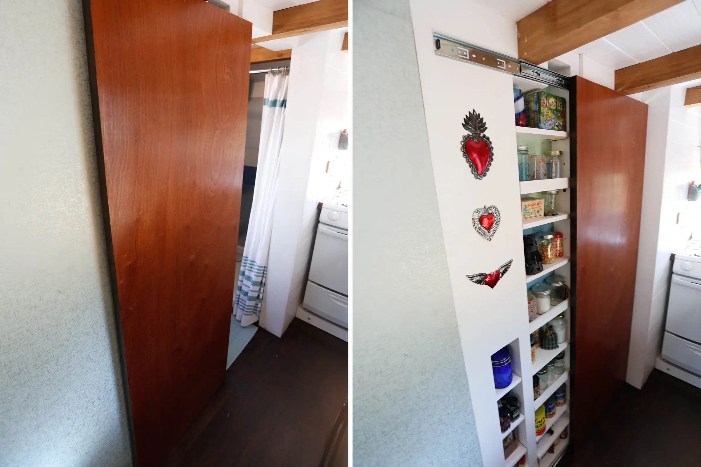 The bathroom door slides to reveal a full-sized pantry.
