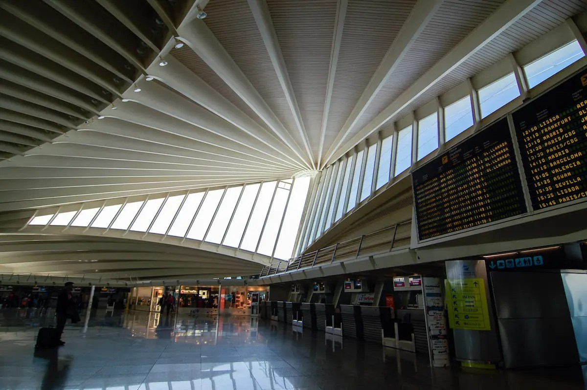 61. The main terminal at Spain's Bilbao Airport, designed by Santiago Calatrava, is one of the most beautiful in the world.
